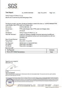 LFGB Certificate for PTFE Fabrics Taixing Youngsun FL-Plastics.Co.,Ltd