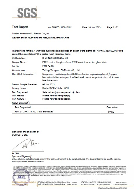 Fda Amp Lfgb Certificate For Ptfe Silicone Fabrics Cook S Aid