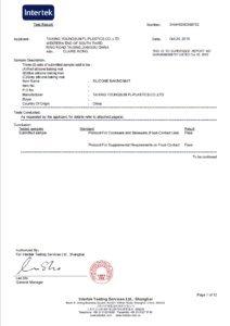 FDA Certificate for Silicone Baking Mat by ITS