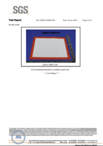 FDA Certificate for Silicone Baking Mat by SGS
